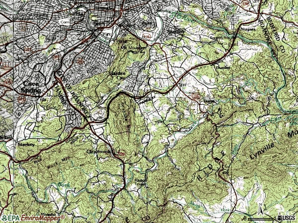Zip code 24014 topographic map