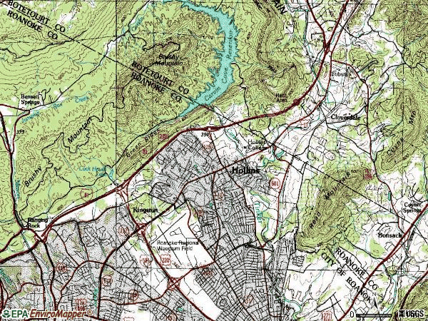 Zip code 24019 topographic map