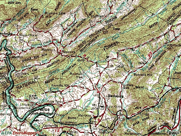 Zip code 24060 topographic map