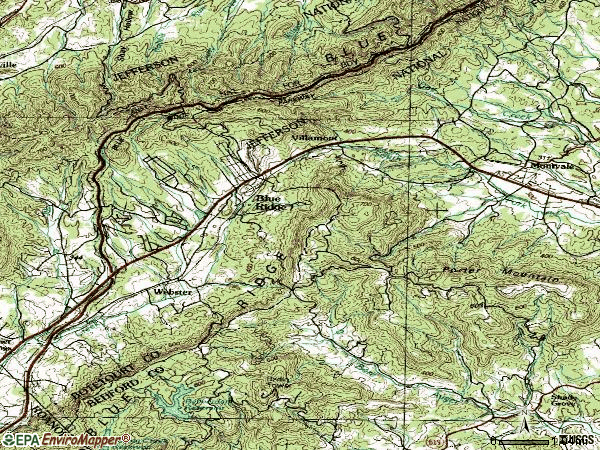 Zip code 24064 topographic map