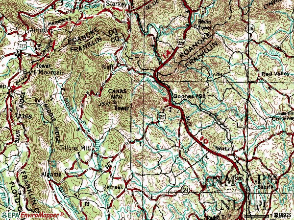 Zip code 24065 topographic map