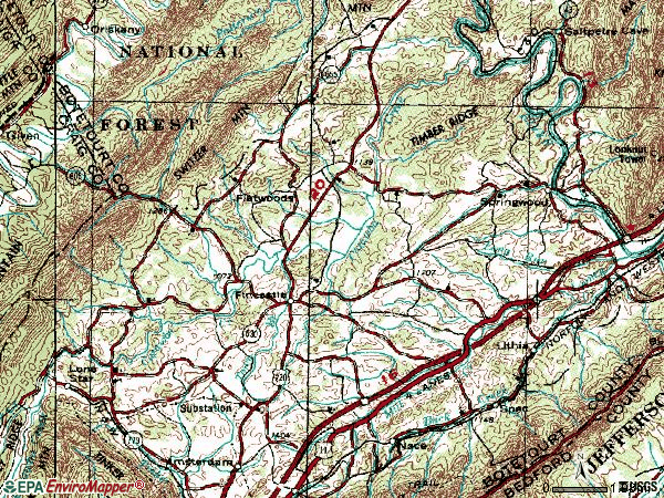 Zip code 24090 topographic map