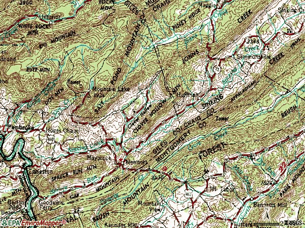 Zip code 24128 topographic map