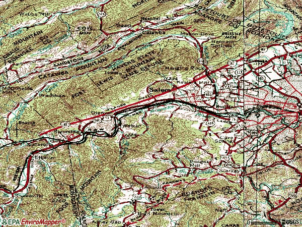 Zip code 24153 topographic map