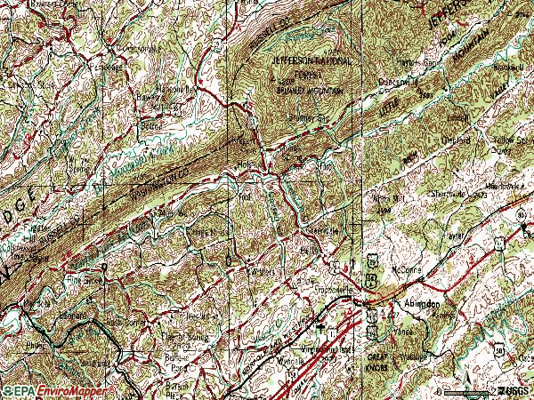 Zip code 24210 topographic map