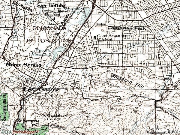 Zip code 95032 topographic map