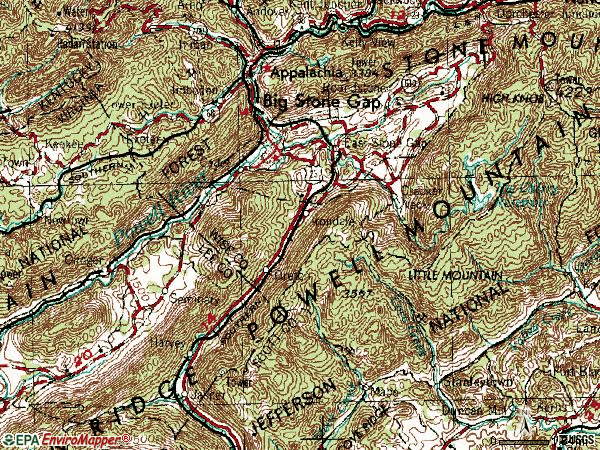 Zip code 24219 topographic map