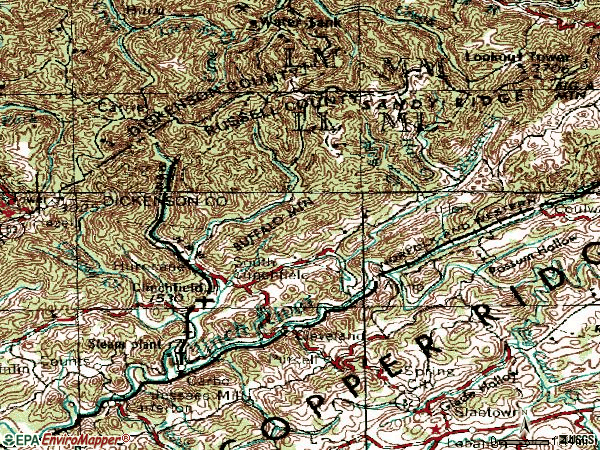 Zip code 24225 topographic map