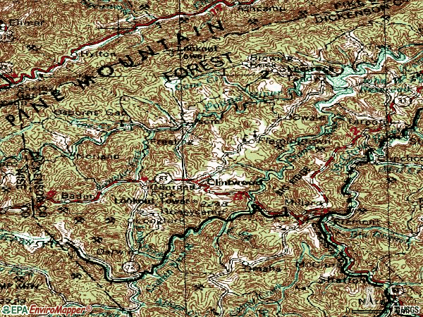 Zip code 24228 topographic map