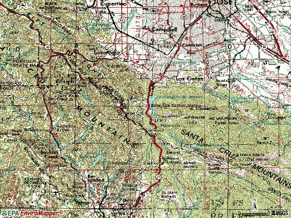 Zip code 95033 topographic map