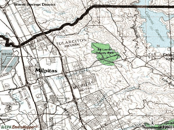 Zip code 95035 topographic map