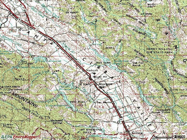 Zip code 95037 topographic map