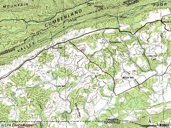 Zip code 24281 topographic map