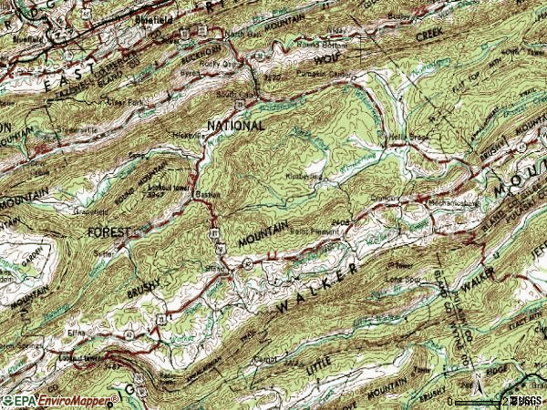 Zip code 24315 topographic map