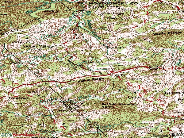 Zip code 24380 topographic map