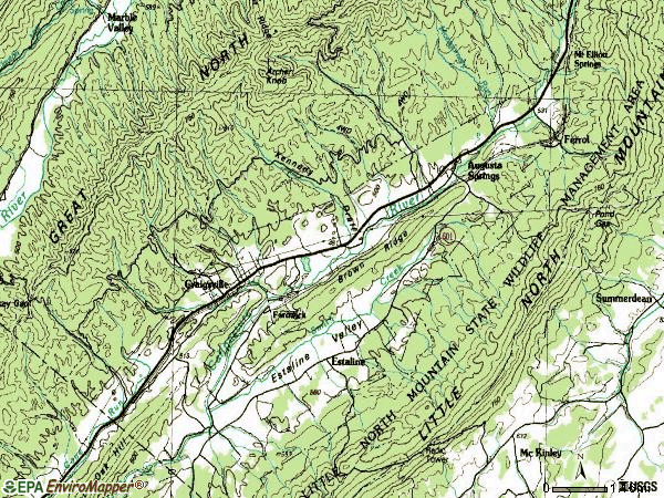 Zip code 24430 topographic map