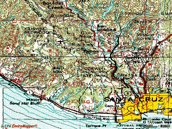 Zip code 95060 topographic map