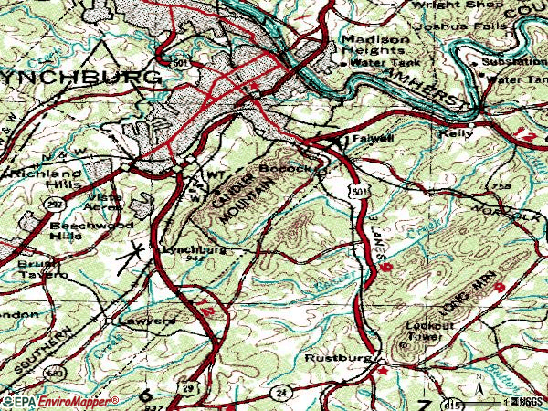 Zip code 24501 topographic map