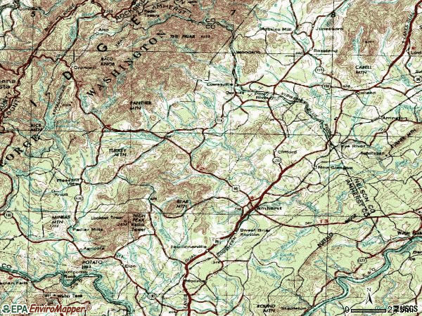 Zip code 24521 topographic map