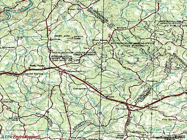 Zip code 24522 topographic map