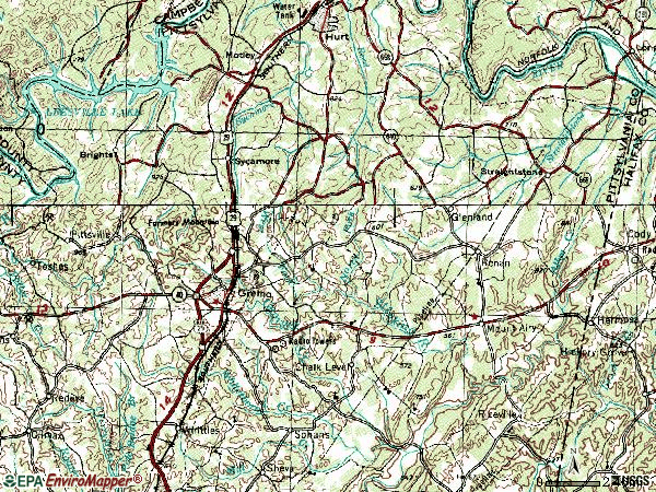 Zip code 24557 topographic map