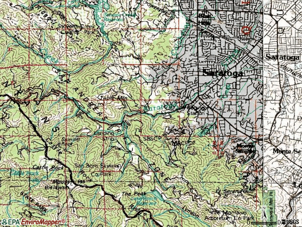 Zip code 95070 topographic map
