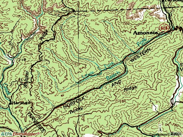 Zip code 24601 topographic map