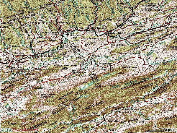 Zip code 24609 topographic map
