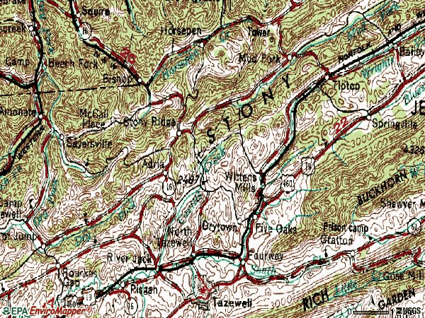 Zip code 24630 topographic map