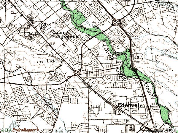 Zip code 95111 topographic map
