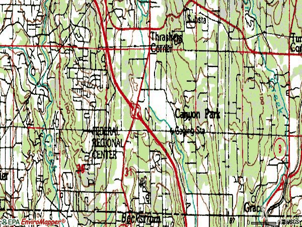 Zip code 98021 topographic map
