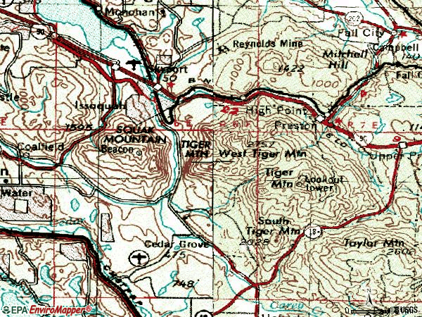 Zip code 98027 topographic map