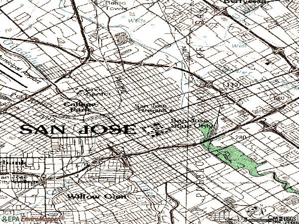 Zip code 95112 topographic map