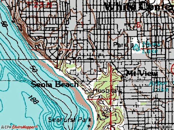 Zip code 98146 topographic map