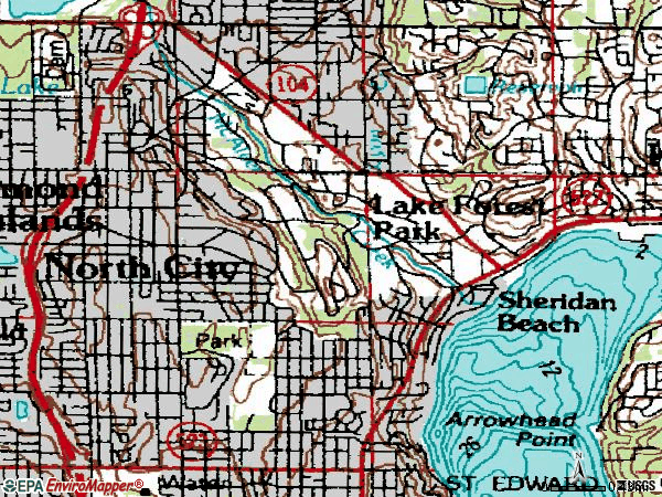 Zip code 98155 topographic map