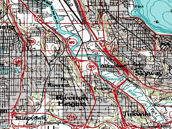 Zip code 98168 topographic map