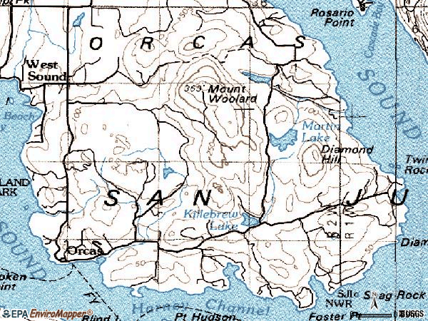 Zip code 98280 topographic map