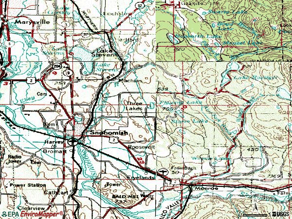 Zip code 98290 topographic map
