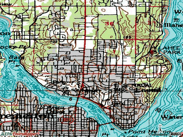 Zip code 98310 topographic map