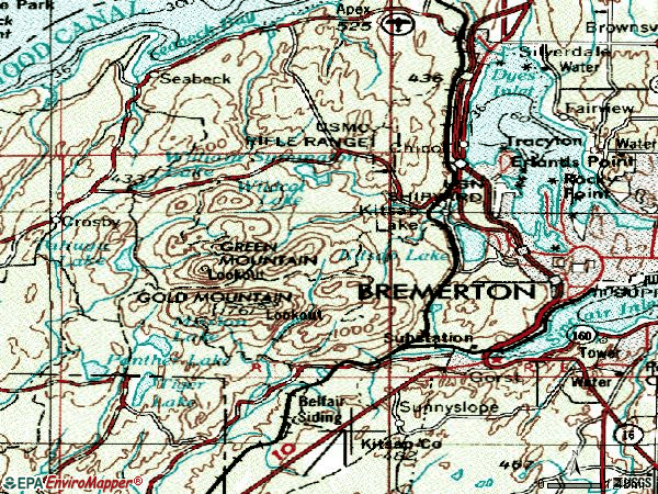 Zip code 98312 topographic map