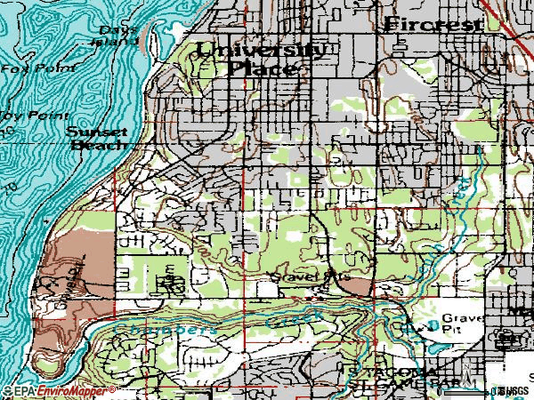 Zip code 98466 topographic map