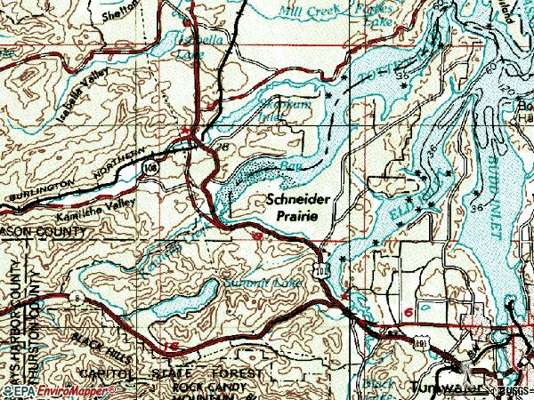 Zip code 98502 topographic map