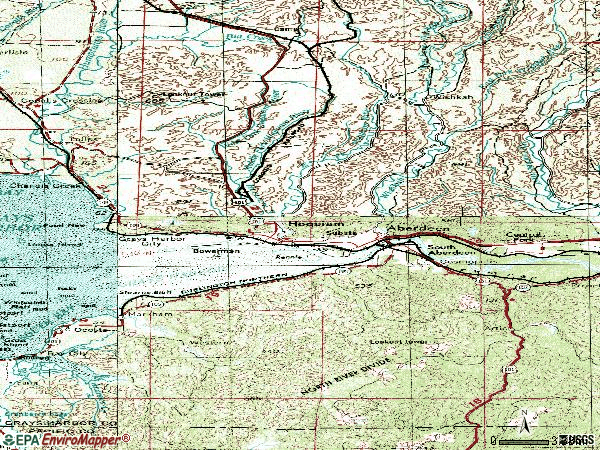 Zip code 98520 topographic map