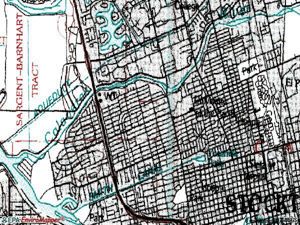 Zip code 95204 topographic map