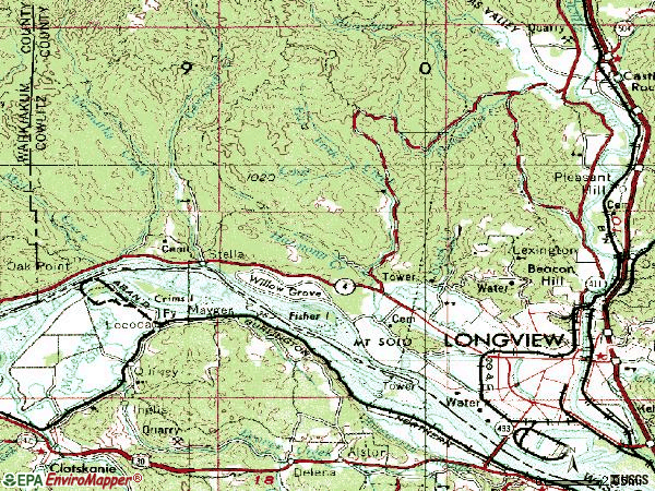 Zip code 98632 topographic map