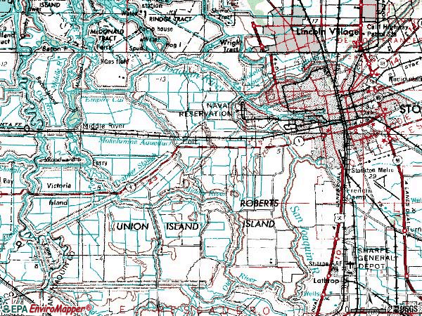 Zip code 95206 topographic map