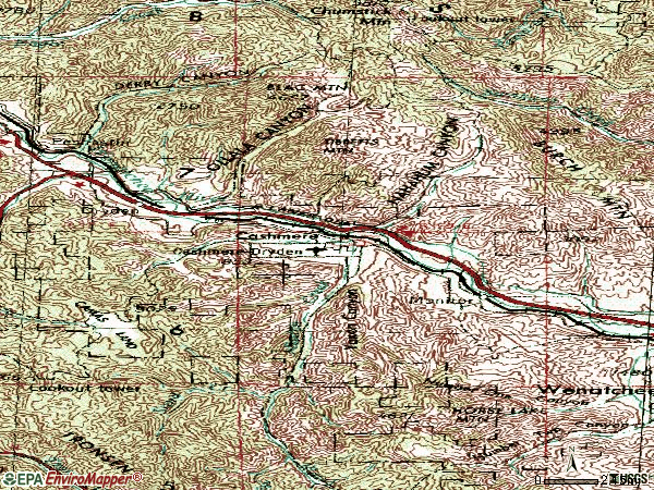 Zip code 98815 topographic map