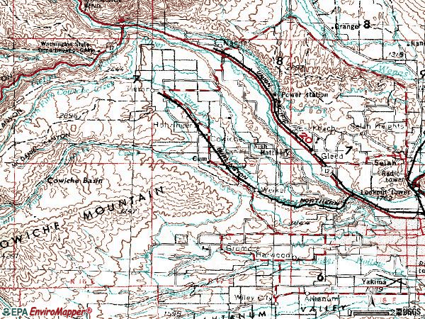 Zip code 98908 topographic map