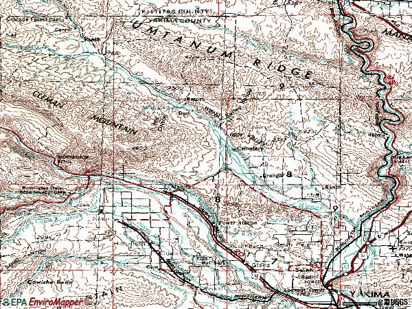 Zip code 98942 topographic map