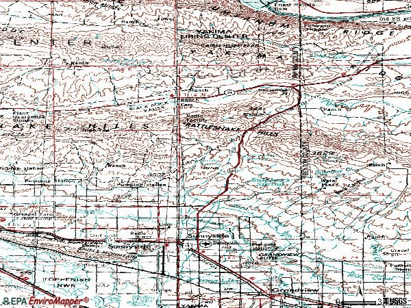 Zip code 98944 topographic map
